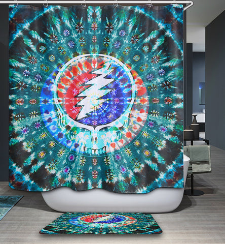 Tie Dye Steal Your Face Grateful Dead Shower Curtain