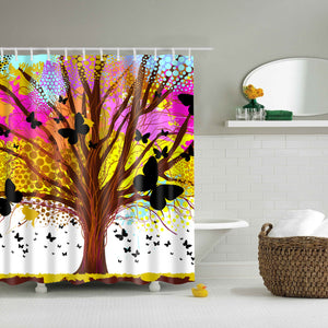 Tree Branch with Butterfly Art Shower Curtain