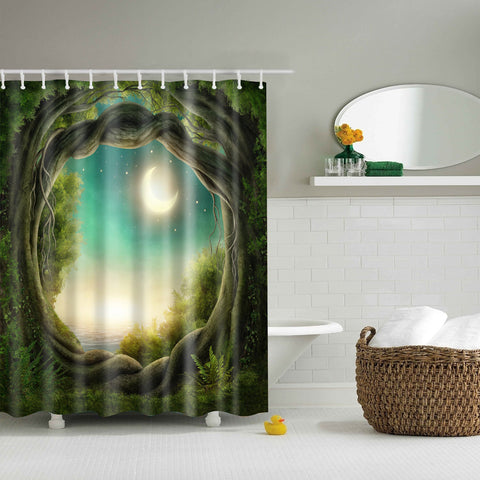 Trees Fairy Moon Enchanted Forest Shower Curtain (Arboles Fairy Moon Enchanted Forest Shower Curtain) GoJeek