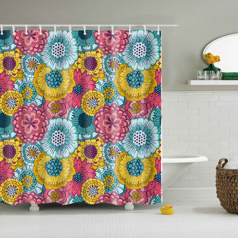 Trendy Colorful Seamless Floral Blooming Cluster Shower Curtain