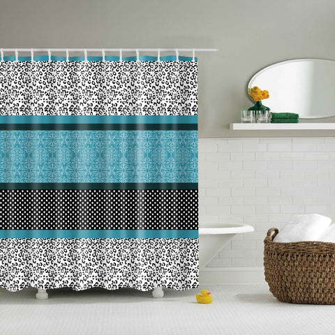 Trendy Leopard Pattern Brown and Teal Shower Curtain