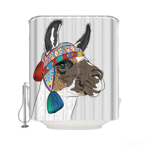 Tribal Style Headwear Beautiful Drawing Alpacas Ethnic Llama Shower Curtain
