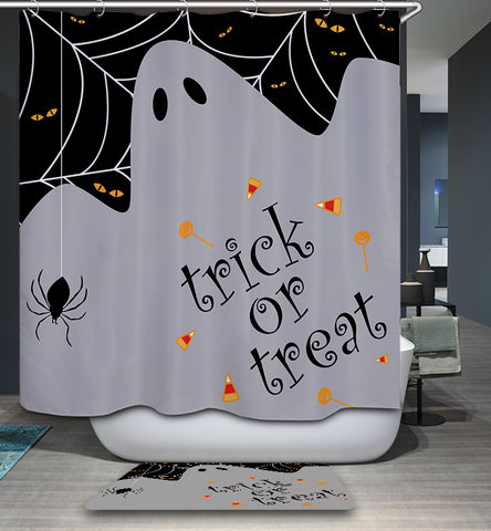 Trick or Treat Ghost Spiders Halloween Shower Curtain