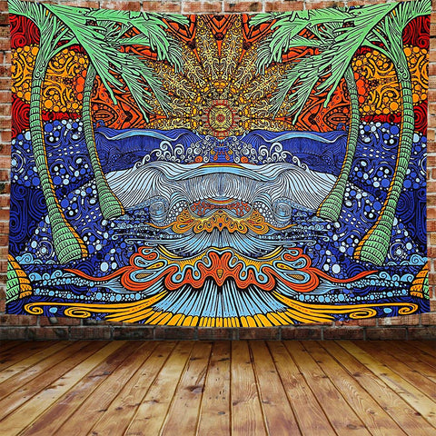 Trippy Plam Tree Beach with Sun Tapestry