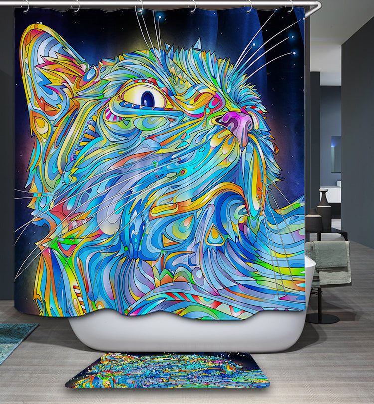 Trippy Psychedelic Cat in Space Shower Curtain