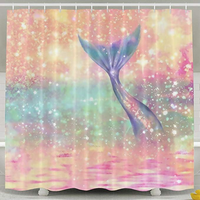 Trippy Sparkling Mermaid Tail Shower Curtain