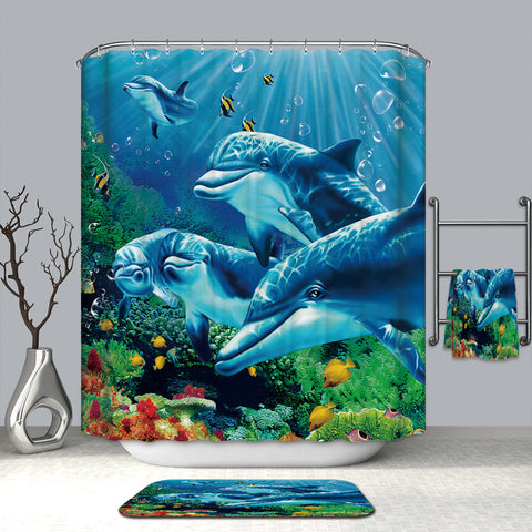 Tropical Fish Coral Blue Ocean Groups of Dolphin Shower Curtain