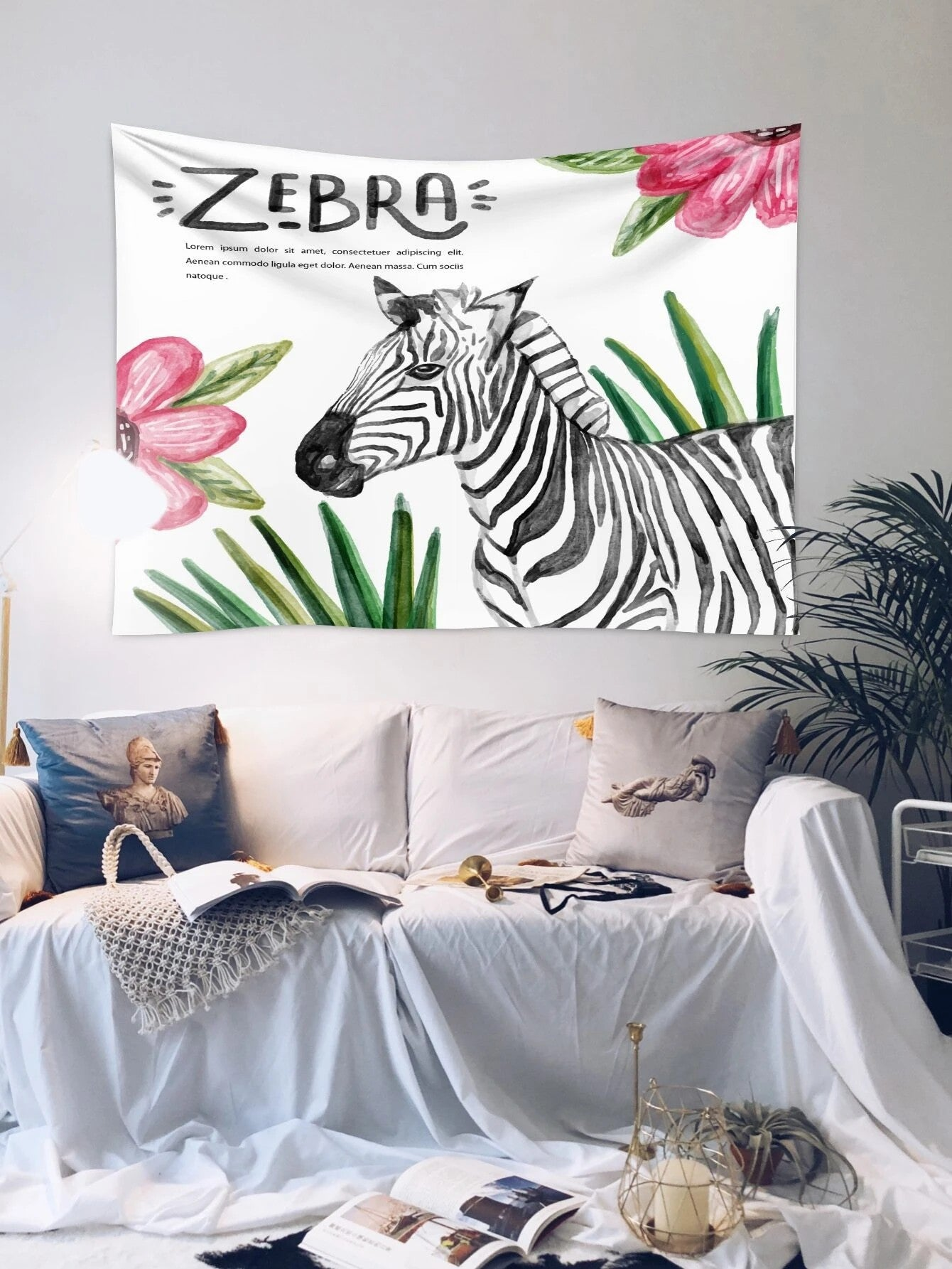Tropical Green Leaf with Quote Zebra Tapestry