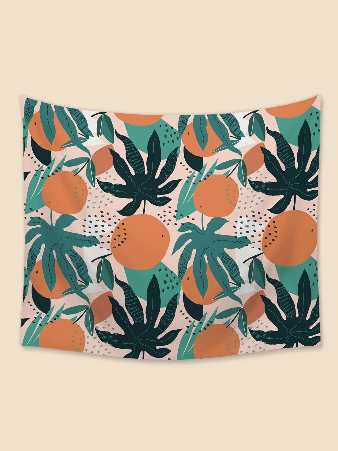 Tropical Monstera Leaf with Orange Fruit Tapestry