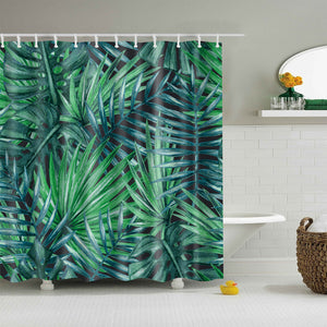 Tropical Banana Leaf Shower Curtain Nature Green Bathroom Decoration | GoJeek