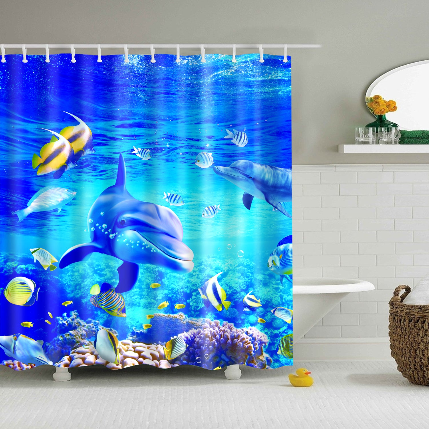 Tropical Cartoon Bottlenose Dolphin Shower Curtain Bathroom Decor