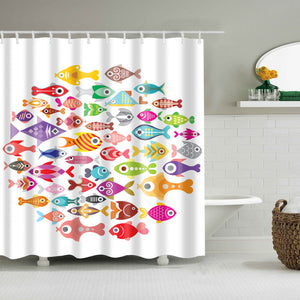 Tropical Cartoon Kids Fish Shower Curtain