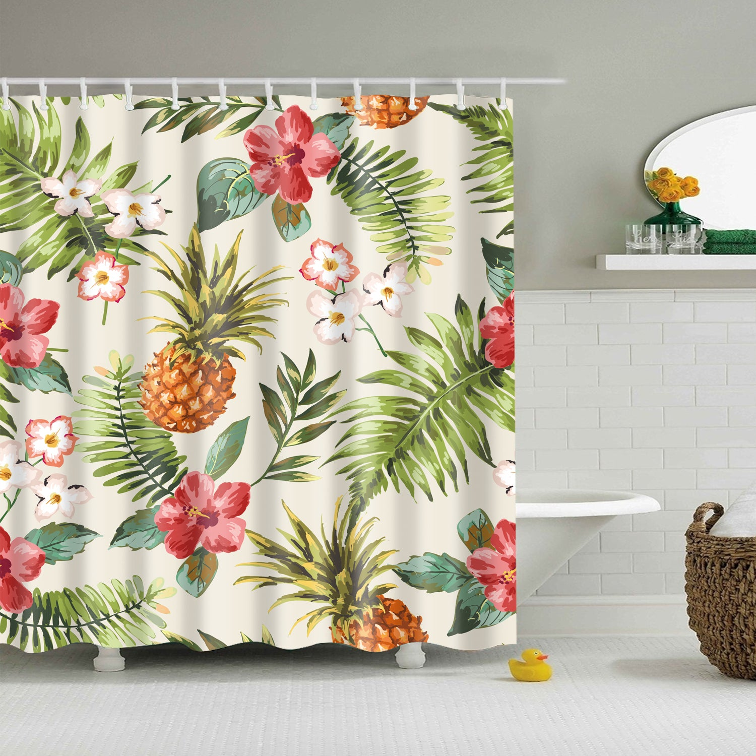 Tropical Flowers with Pineapple Shower Curtain