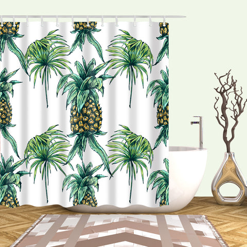 Tropical Fruit Drawing Pineapple Shower Curtain