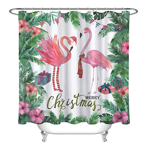 Tropical Plam Tree Pink Christmas Flamingo Shower Curtain