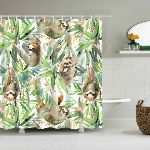 Tropical Plant with Watercolor Sloth Shower Curtain