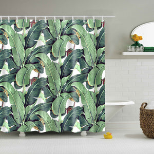 Tropical Rainforest Banana Leaf Drawing Print Shower Curtain