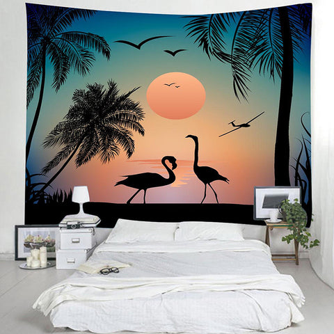 Tropical Sea Landscape with Palm Trees Sunset Flamingos Tapestry