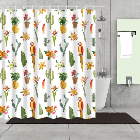 Tropical Seamless Parrot with Pineapple Plants Shower Curtain