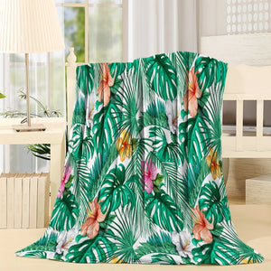 Tropical Spring Banana Leaf Throw Blanket