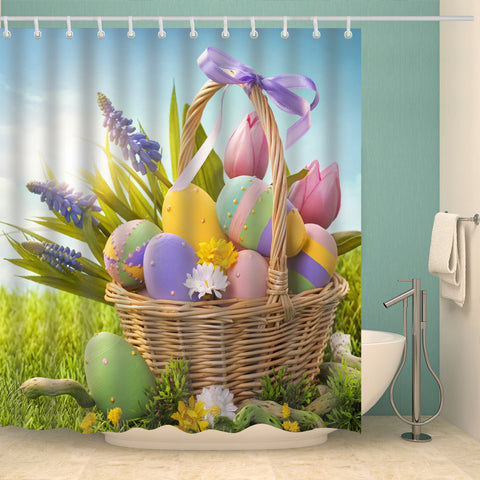 Tulip Lavender Flowers with Easter Eggs in Basket Shower Curtain