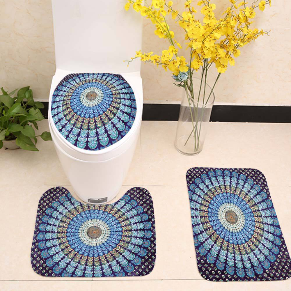 Turquoise Mandala Feather Toilet Seat Cover