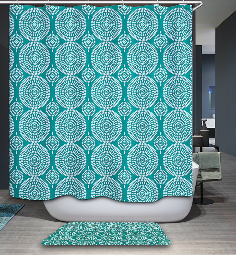 Turquoise Ornamental Circle Lace Pattern Shower Curtain