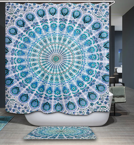 Turquoise Peacock Feather Mandala Shower Curtain