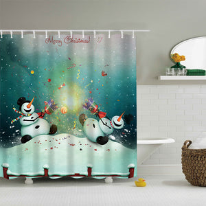 Two Snowman Celebrating Christmas Shower Curtain