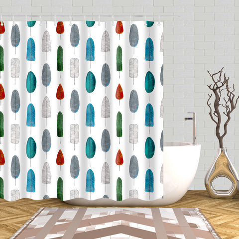 Types of Colored Bird Feathers Print Shower Curtain