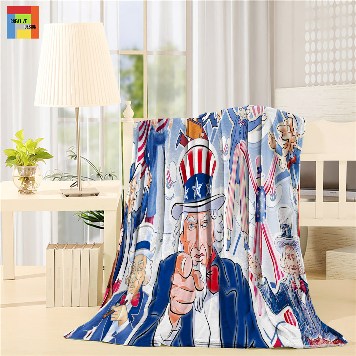Uncle Sam United States Independent Day Throw Blanket