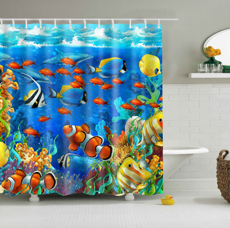 Under The Sea Fish with Seaweed Shower Curtain | GoJeek