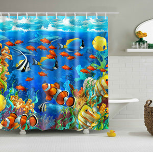 Under The Sea Fish with Seaweed Aquarium Shower Curtain Bathroom Decor