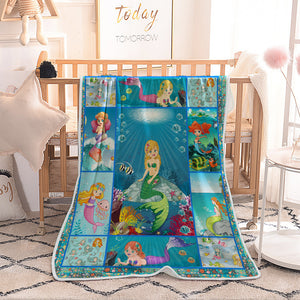 Under the Sea Cartoon Little Mermaid Quilted Throw Blankets