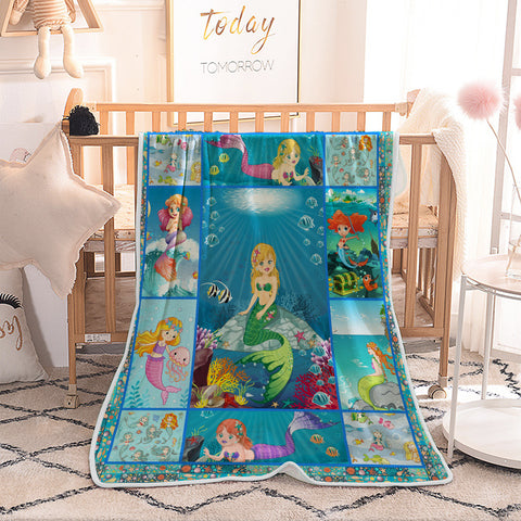 Unter dem Meer Cartoon Little Mermaid Quilted Throw Blankets