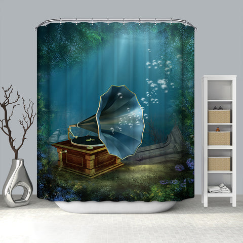 Underwater Scenery With an Old Phonograph Shower Curtain