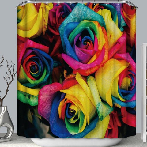 Unicorn Rainbow Color Gay Pride Glorious Rose Shower Curtain