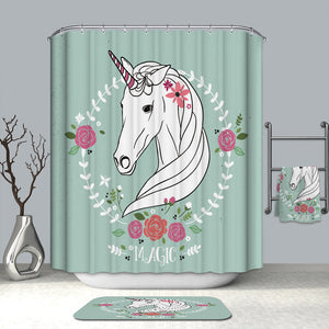 Unicorn with Flowers Magic Girls Shower Curtain
