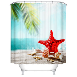 Unique Red Starfish with Seashell Sandy Tropical Beach with Palm Tree Blue Sky Shower Curtain