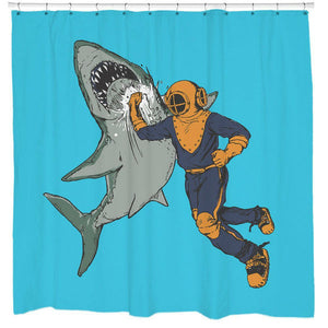 Unique Blue Diver Shark Punch Shower Curtains Funny Housewarming Gift | GoJeek