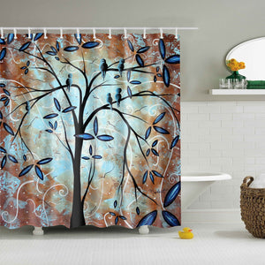 Unique Brown Tree Painting Art Shower Curtain