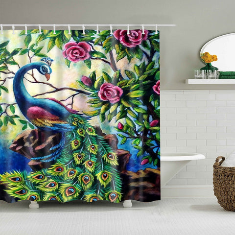 Unique Colorful Painting Peacock with Rose Shower Curtain
