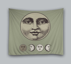 Unique Design Lunar Moon Face Art Tapestry