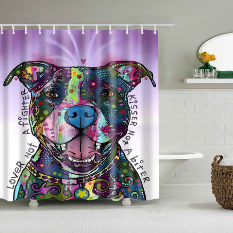 Unique Dog Painting Art with Quotes Pitbull Shower Curtain
