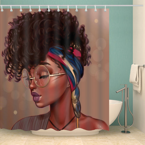 Unique Hairstyle With Glass Afro Black Girl Shower Curtain