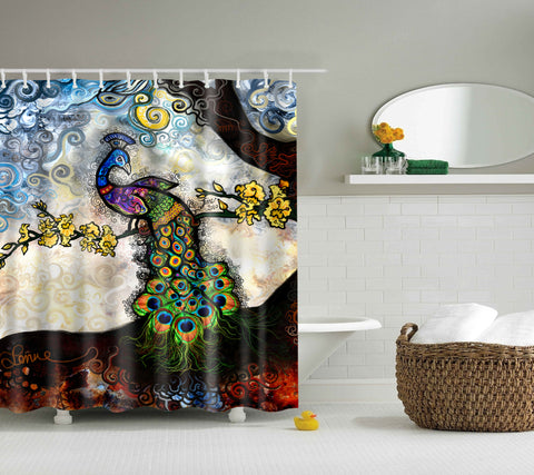 Unique Jele Peacock Vibrant Colours Art Shower Curtain