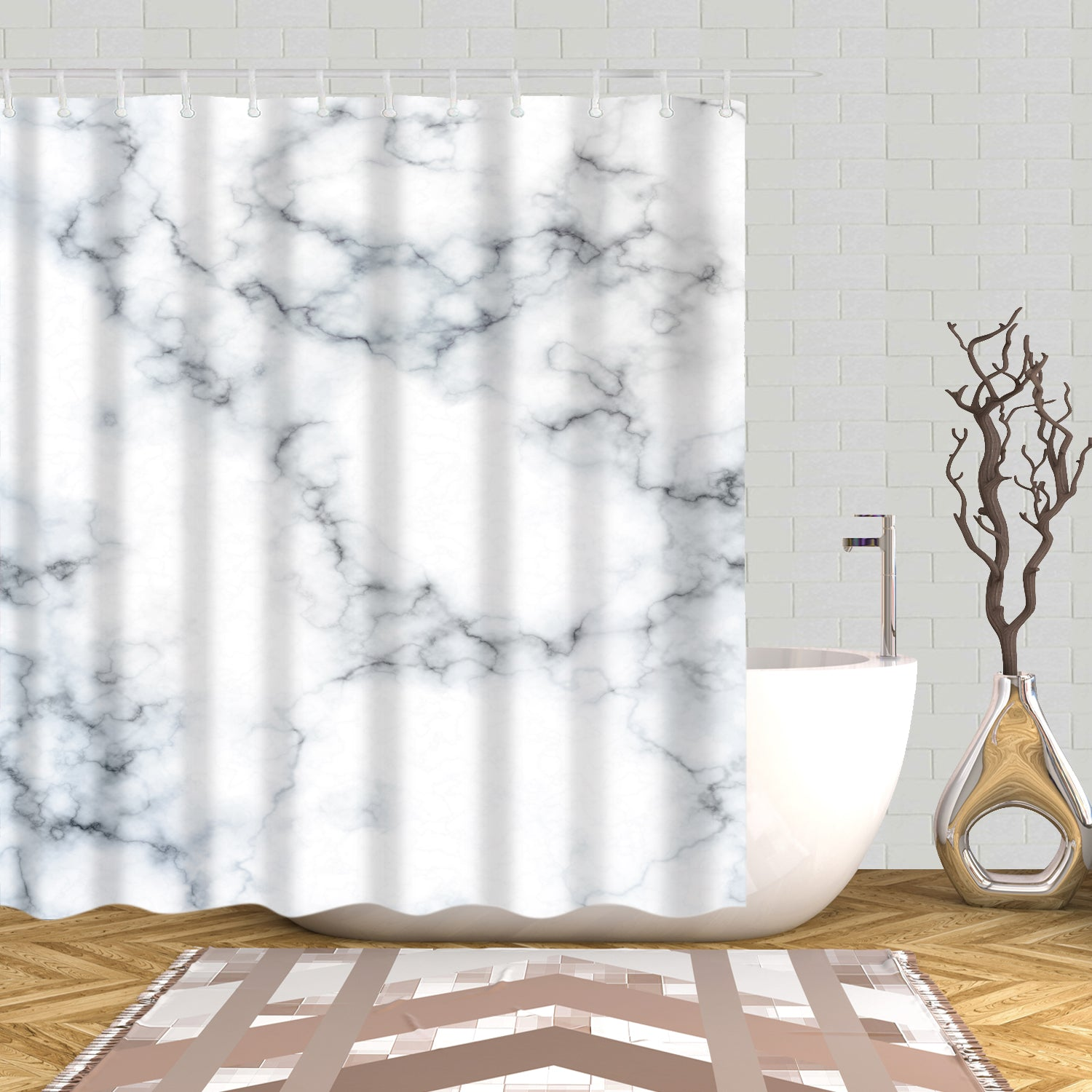 Unique Statuario Carrara Marble Shower Curtain