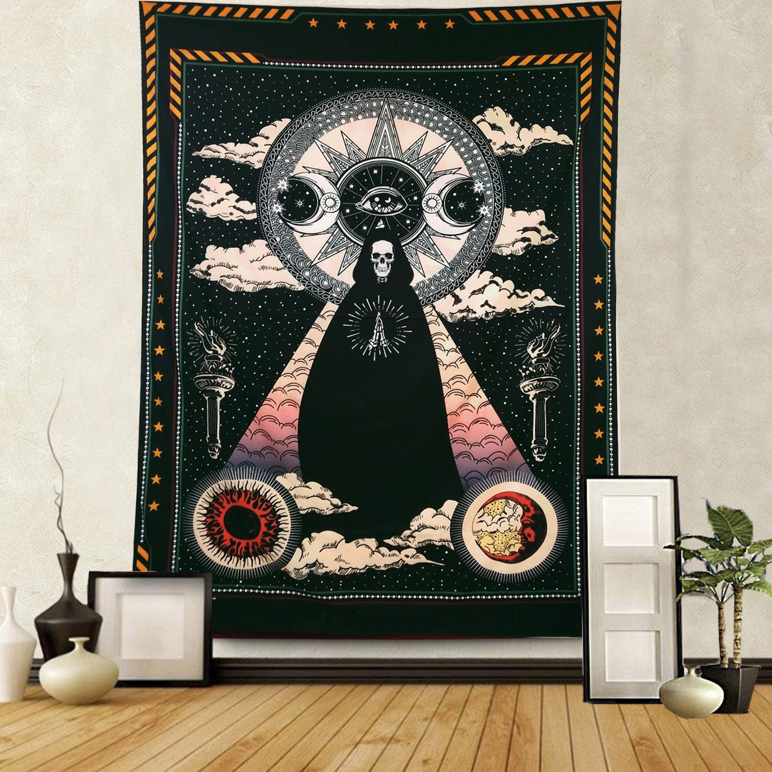 Unique Tarot Cloaked Skeleton With Sun Moon Symbol Grim Reaper Death Tapestry