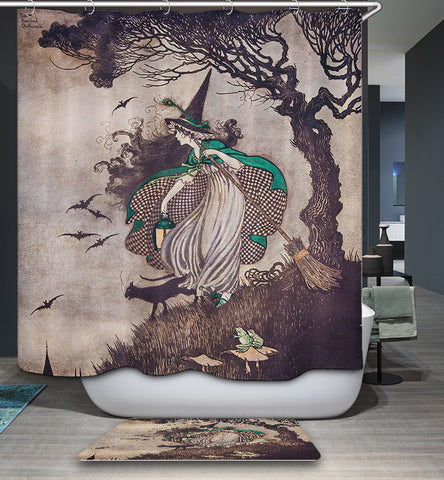 Unusually Retro Witch Shower Curtain