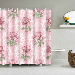 Valentine Day Pink Backdrop Rose Floral Shower Curtain